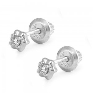 Sterling Silver 4-Prong Diamond Screw Back Stud Earrings for Girls