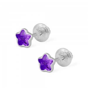 Girls Sterling Silver CZ February Birthstone Flower Screw Back Earrings