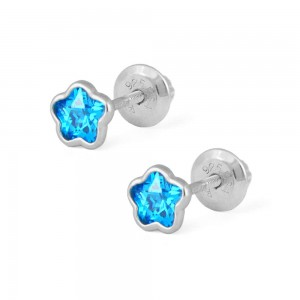 Girls Sterling Silver CZ March Birthstone Flower Screw Back Earrings