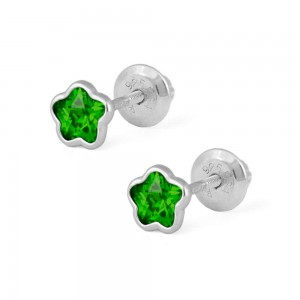 Girls Sterling Silver CZ May Birthstone Flower Screw Back Earrings