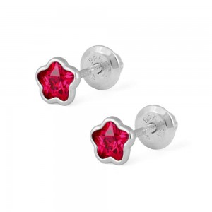 Girls Sterling Silver CZ July Birthstone Flower Screw Back Earrings