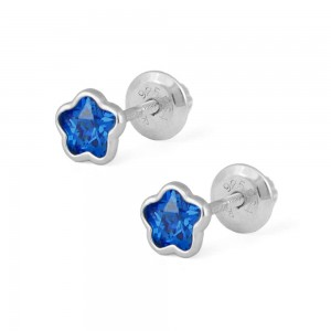 Girls Sterling Silver CZ September Birthstone Flower Screw Back Earrings