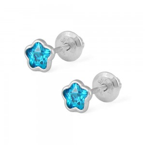 Girls Sterling Silver CZ December Birthstone Flower Screw Back Earrings