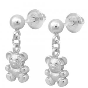 Girls Sterling Silver Dangling Teddy Bear Screw Back Stud Earrings