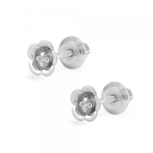 Kids Jewelry - 14K White Gold Diamond Flower Screw Back Earrings For Girls