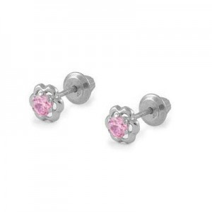Girls 14K White Gold Pink Cubic Zirconia Flower Screw Back Earrings