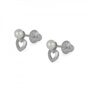 Kids 14K White Gold Open Heart 3mm Cultured Pearl Screw Back Earrings
