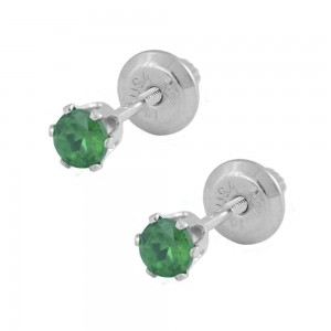 14K White Gold Genuine Emerald Girls Stud Earrings - May Birthstone