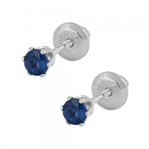 14K White Gold Sep Birthstone Sapphire Screw Back Girls Earrings