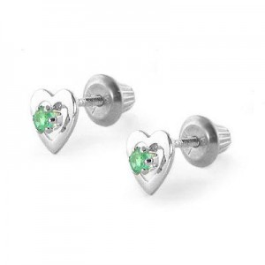Kids 14K White Gold May Birthstone Emerald Heart Earrings For Girls