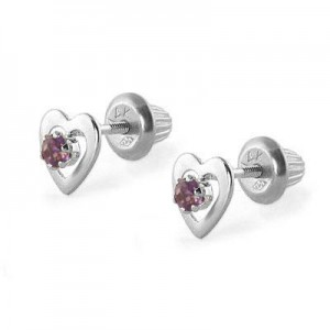 14K White Gold June Birthstone Rhodolite Heart Earrings For Girls