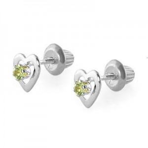 14K White Gold August Birthstone Peridot Heart Earrings For Girls