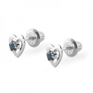 14K White Gold September Birthstone Sapphire Heart Earrings For Girls