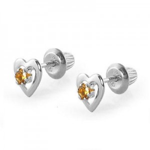 14K White Gold November Birthstone Citrine Heart Earrings For Girls