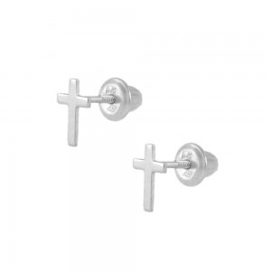 Kids Jewelry - 14K White Gold Cross Screw Back Stud Earrings for Girls
