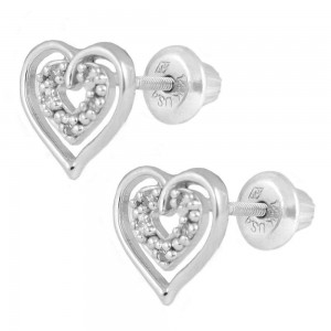 14K White Gold Diamond Open Heart Screw Back Stud Earrings For Girls