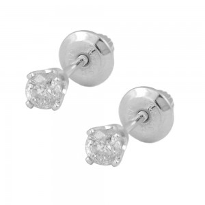 Girls 14K White Gold 0.18 CTW Diamond Screw Back Stud Earrings