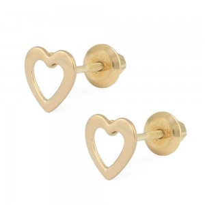 Girls Jewelry - 14K Yellow Gold Open Heart Screw Back Stud Earrings