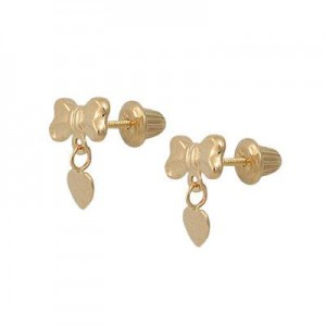 Girl's 14K Yellow Gold Small Bow Dangling Heart Screw Back Earrings