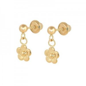 Children's 14K Yellow Gold Dangling Flower Screw Back Earrings For Girls