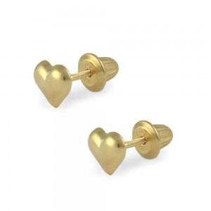 Girls Jewelry - 14K Yellow Gold Heart Shaped Screw Back Earring Studs