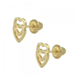 14K Yellow Gold Double Open Hearts Screw Back Stud Earrings For Girls