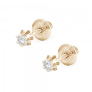 Girl's Jewelry - 14K Yellow Gold 0.08 CTW Diamond Screw Back Earring Studs