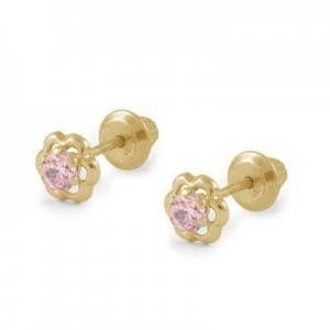 Girls 14K Yellow Gold Pink Cubic Zirconia Flower Screw Back Earrings