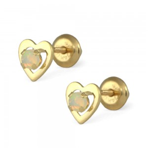 14K Yellow Gold Genuine Opal Heart Screw Back Stud Earrings For Girls