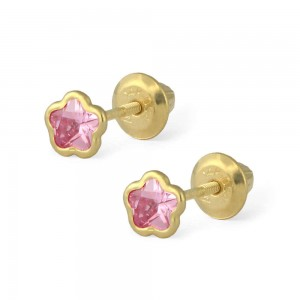 14K Yellow Gold Pink CZ Flower Shaped Screw Back Earrings For Girls
