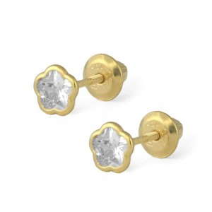 14K Yellow Gold White CZ Flower Shaped Screw Back Earrings For Girls
