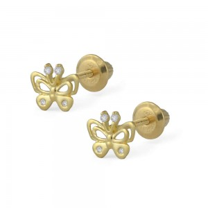 Girls Jewelry - 14K Yellow Gold Butterfly White CZ Screw Back Earrings