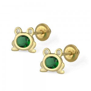 Kids Jewelry For Girls - 14K Yellow Gold CZ Frog Screw Back Earrings