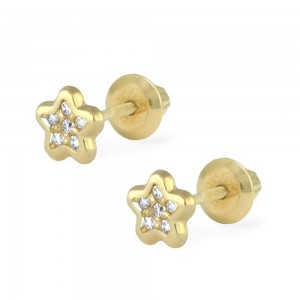 14K Yellow Gold White CZ Star Screw Back Earrings For Children Of Ages