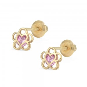 14K Yellow Gold Pink CZ Open Flower Screw Back Earrings For Girls