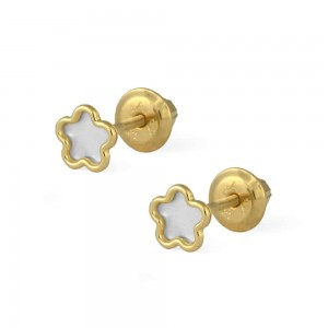 Girls 14K Yellow Gold Flower Shape Mother Of Pearl Screw Back Earrings