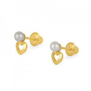 Kids 14K Yellow Gold Open Heart 3mm Cultured Pearl Screw Back Earrings