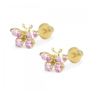 Girls 14K Yellow Gold October Birthstone Butterfly Screw Back Earrings