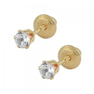14K Yellow Gold April Birthstone Girls Earrings With Genuine White Topaz