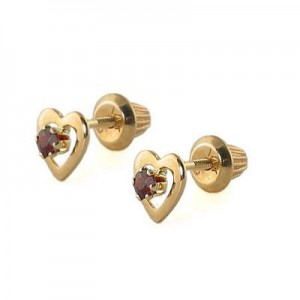 Kids 14K Yellow Gold Genuine Garnet Heart Stud Earrings - January Birthstone