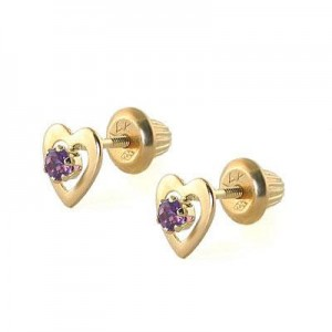 Kids 14K Yellow Gold Genuine Amethyst Heart Stud Earrings - February Birthstone