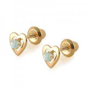 Kids 14K Yellow Gold Genuine Aquamarine Heart Stud Earrings - March Birthstone