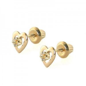 Kids 14K Yellow Gold Genuine White Topaz April Birthstone Heart Stud Earrings
