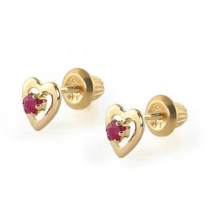 Kids 14K Yellow Gold Genuine Ruby Heart Stud Earrings - July Birthstone