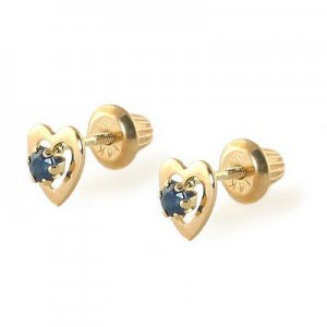 Kids 14K Yellow Gold Genuine Sapphire Heart Stud Earrings - September Birthstone