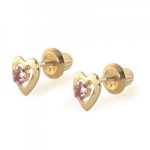 Kids 14K Yellow Gold Genuine Pink Tourmaline Heart Stud Earrings - October Birthstone