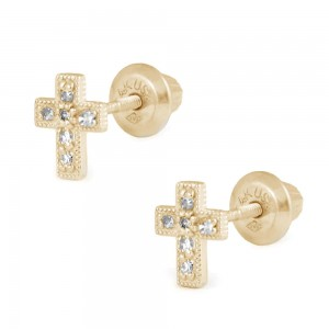 Girls Jewelry - 14K Yellow Gold Diamond Cross Screw Back Stud Earrings