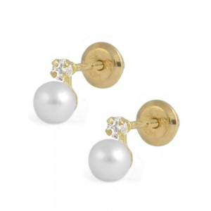 Girl 14K Yellow Gold White Cultured Pearl Diamond Screw Back Earrings