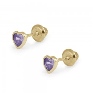 Girl's 14K Yellow Gold February Birthstone Heart Screw Back Earrings