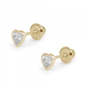 Girl's 14K Yellow Gold April Birthstone Heart Screw Back Earrings